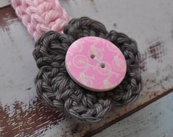 Baby Headband - Pink and Grey - Bicycle