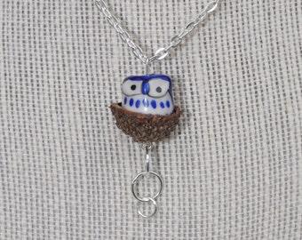 Silver Jewelry - Owl Necklace - Acorn - Blue