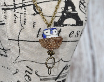 Jewelry - Acorn Necklace - Owl - Blue
