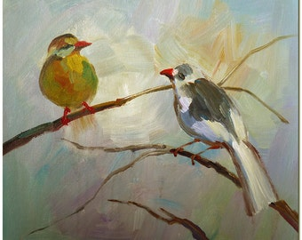 2 Lovely Spring Robin - Signed Hand Painted Bird Oil Painting On Canvas