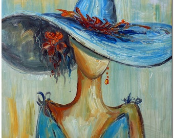 Sunday's Hat - Signed Hand Painted Palette Knife Woman Figurative Oil Painting On Canvas