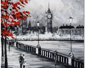 London Memory - Signed Hand Painted Palette Knife Cityscape Oil Painting On Canvas