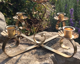 Vintage Gold Heavy Metal Five Arm Candle Holder, Hollywood Regency Decor, Wedding Decor, Mid Century
