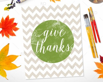 Give Thanks PRINTABLE wall art / Fall / Thanksgiving / Watercolor art / Fall Art / Give Thanks Wall Art / Thankful Print / Fall Themed Art