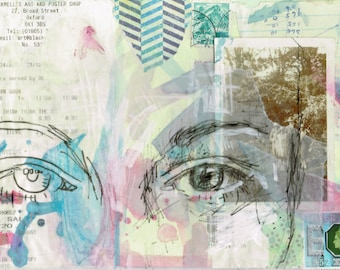 Abstract Eyes Art High Quality Print Postcard 6 x 4 Collage Wall Art Vintage Found Recycled Photographs with Ink, Stamps and Pen Drawing