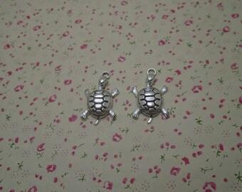 50pcs 36mmx22mm Tortoise Antique Silver Retro Pendant Charm For Jewelry Pendant