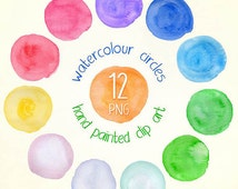 Watercolour circles digital clipart. Multi colour  hand painted circles clip art. Instant download in PNG format. Business use.