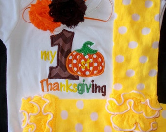 My First Thanksgiving Outfit, Girl My First Thanksgiving Outfit, Baby Girl Thanksgiving Outfit, Girl Thanksgiving Bodysuit with Leg Warmers