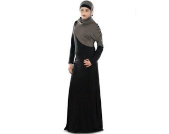 MyBatua Soft Jersey Black Abaya Maxi Dress, Casual & Formal  Wear Burqa, Jilbab, Ethnic Muslim Hijab Dress, Islamic Women Clothing AY-269