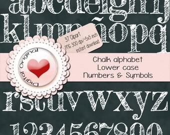 Chalk alpha (Lower case) - 37 Clipart -Transparent background - chalkboard  for free