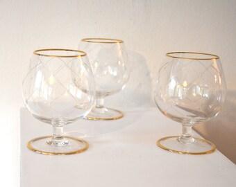 Vintage Gold Rim Brandy Snifter Glasses / Set of 3 Mid Century Vintage Antique European Crystal Gold Rim Diamond Pattern Brandy Snifters
