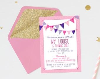 Girl's birthday bunting invitation / First birthday invitation / Kids birthday invite / Pink Bunting invitation / Printable invitations