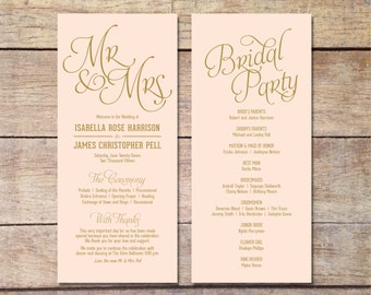 Blush Pink & Gold Wedding Program, Classic Glam, Customizable Program, Romantic Wedding, Elegant Design, Simple Wedding, Printable Program