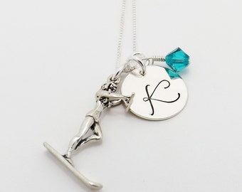Waterskier Sterling Silver Waterski Initial Necklace, Waterski Mom Necklace with Waterskier Charm and Swarovski Crystal Birthstone