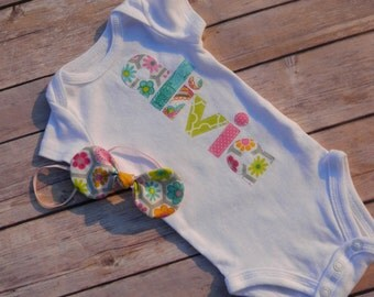 Baby Girl, Appliqued Bodysuit and Knotted Headband