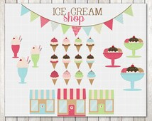 Ice Cream Shop Clipart, Commercial Use, Instant Download, Digital Clipart, Cute Clipart, Clip art,  Digital Graphics, Sweet Treats Clipart