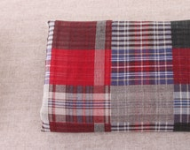 150cm / 59 inch Width, Dark Vintage Style Check / Plaid Patch Style Double Layered Cotton Fabric, Half Yard, J119