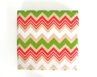 Red Green and White Chevron Stripes on Kraft Wrapping Paper, 10 ft x 2 ft. / 3.048 m. x .60 m. Roll