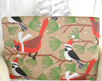 Winter Birds on Evergreen Branches on Kraft Wrapping Paper, 10 ft. x 2 ft / 3.048 m. x .60 m. Roll  Chickadees and Cardinals Gift Wrap