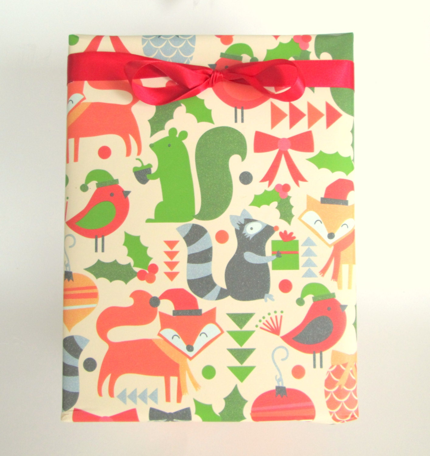 Winter woodland animals christmas wrapping paper holiday gift for Paper christmas gifts
