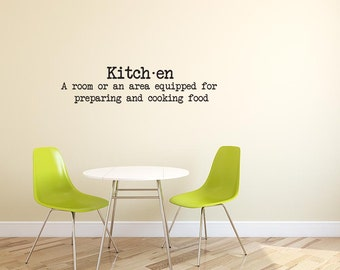 Kitchen Dictionary Definition Decal, Sticker, Vinyl, Wall, Home, Kitchen Decor