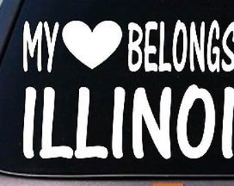 My Heart Belongs To Illinois Sticker Decal *E008*