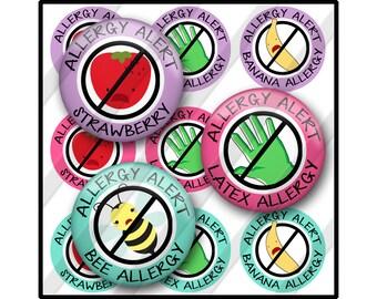 Allergy Medical Alert Bottle Cap Image Sheet, Latex, Bee, Strawberry, Banana, Pineapple