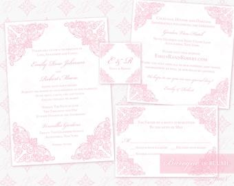DIY Printable Wedding Invitation Template Set | Printable Invitation Suite (5x7) | Baroque in Blush