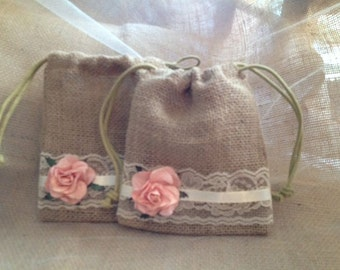 Peach Party Favor Bags, Rustic Wedding Table Decor - Burlap and Lace Favor Bags for Weddings, Showers and Rehearsal Dinners