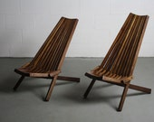 1960's Danish Modern Architectural Folding Chairs