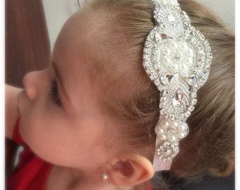 Rhinestone Headband Flower Girl Bridesmail Bridal Vintage