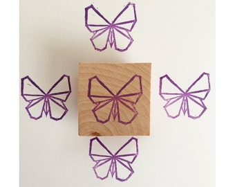 Origami butterfly hand carved rubber stamp