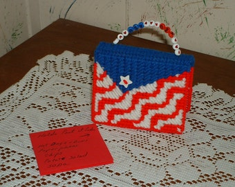 Back to school, Hand Crafted Post it note holder refillable made to look like a purse