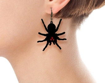 Halloween spider earrings dangling laser cut wood, black or natural color, red swarovski crystal eyes or bobble eyes.