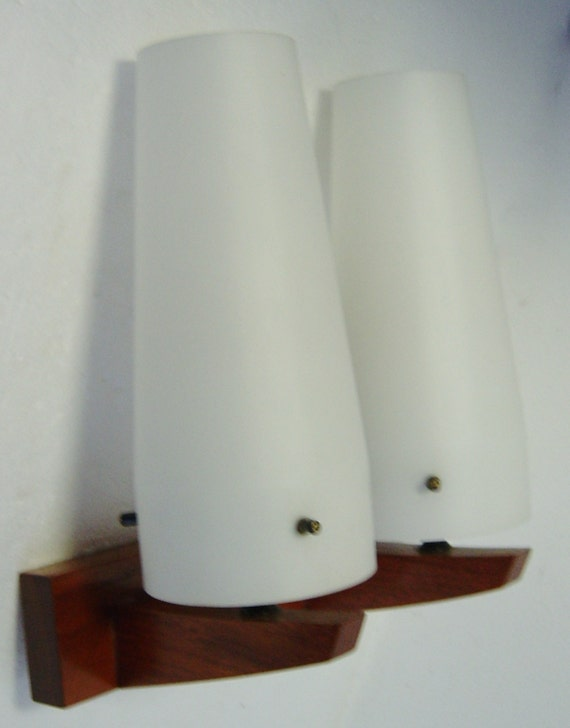 Danish Modern Teak wall lamp with white glass shades