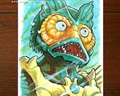 Mer Man from He-Man MOTU | Comic art | ACEO Original Art Card