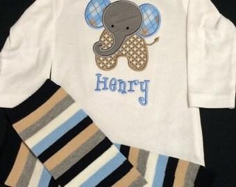 Baby Boy or Baby Girl Monogramed and Appliqued 2 Piece Gift Set, Appliqued Elephant Bodysuit Stripe Legwarmers