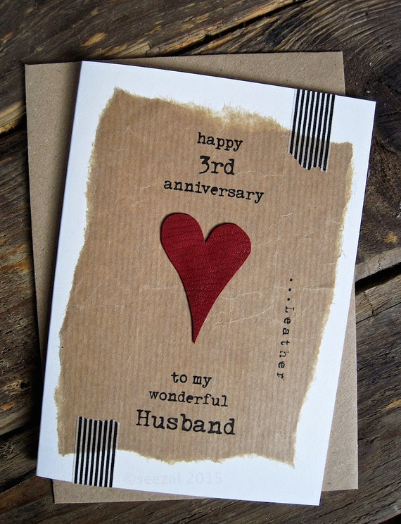 3rd Wedding Anniversary Card Leather Traditional Gift Handmade ...