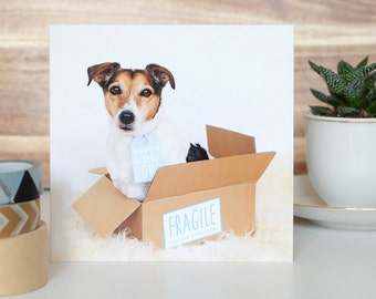 Happy New Home Card with cute little dog + envelope
