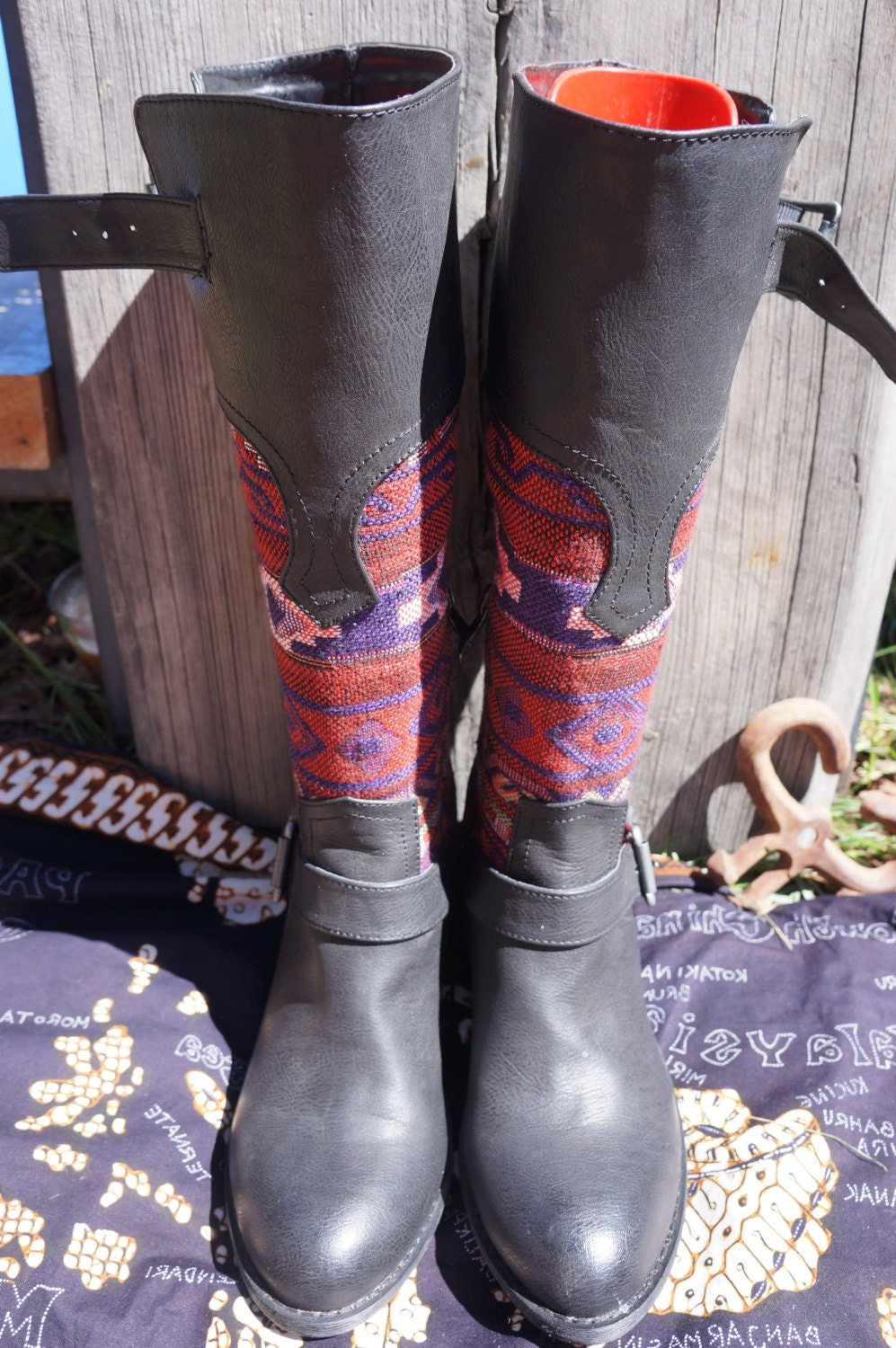 90s vegan black and tapestry western style biker boots