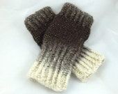 Handmade Gradient Cream and Brown Fingerless Mitts - Wristers - Hand Knit Mitts -
