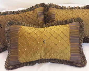 Kidney Pillow Covers with Silk Center and Fringe 11 x 18