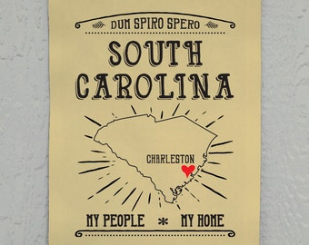 South Carolina Wall Decor, Charleston, SC, My People, My Home, Printed on Duck Cloth
