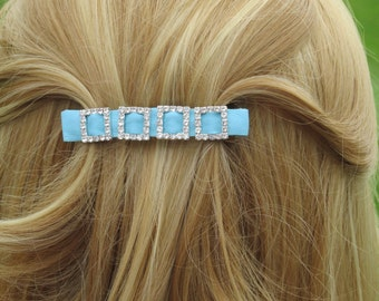 leather & diamante french barrette hair slide, blue leather barrette, blue hair accessory, blue hair clasp, leather hair clip, blue,Ruby62
