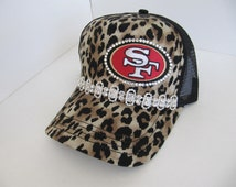 San Francisco 49er, SF 49er , Animal Print, Trucker Hat, SF, 49er, Football Team,  Bling Hat, Womens Hat, Sworovski Crystal Hat