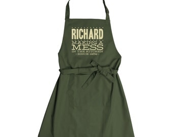 Personalised Making A Mess Since Apron With Pocket - choice of colours!