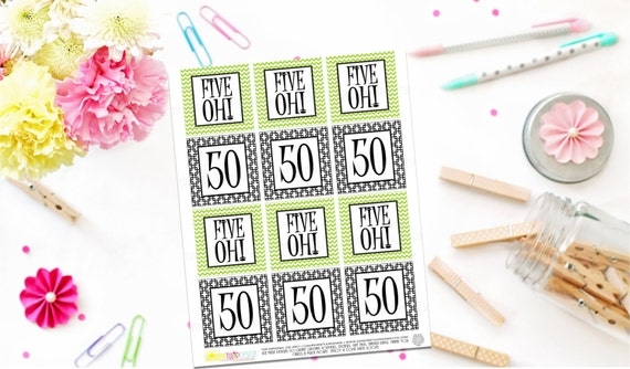 Printable 50th Birthday Gift Tags Five Oh