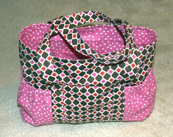 Large Tote Bag with Side Pockets - Brown & Pink Diamonds and Pink/White Polka Dots