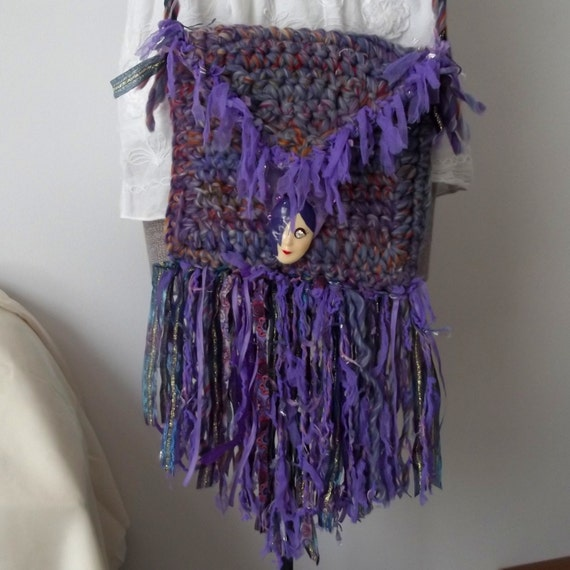 Handmade Crochet Handbags : Handmade Crochet Purse, Crossbody Bag, Gray, Purple, Vintage Pin ...