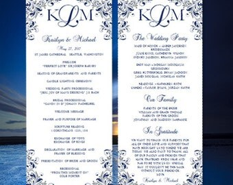 "Printable Wedding Program ""Kaitlyn"" Navy Blue and Gray Order of Service Ceremony Program Word.doc Instant Download All Colors DIY U Print"